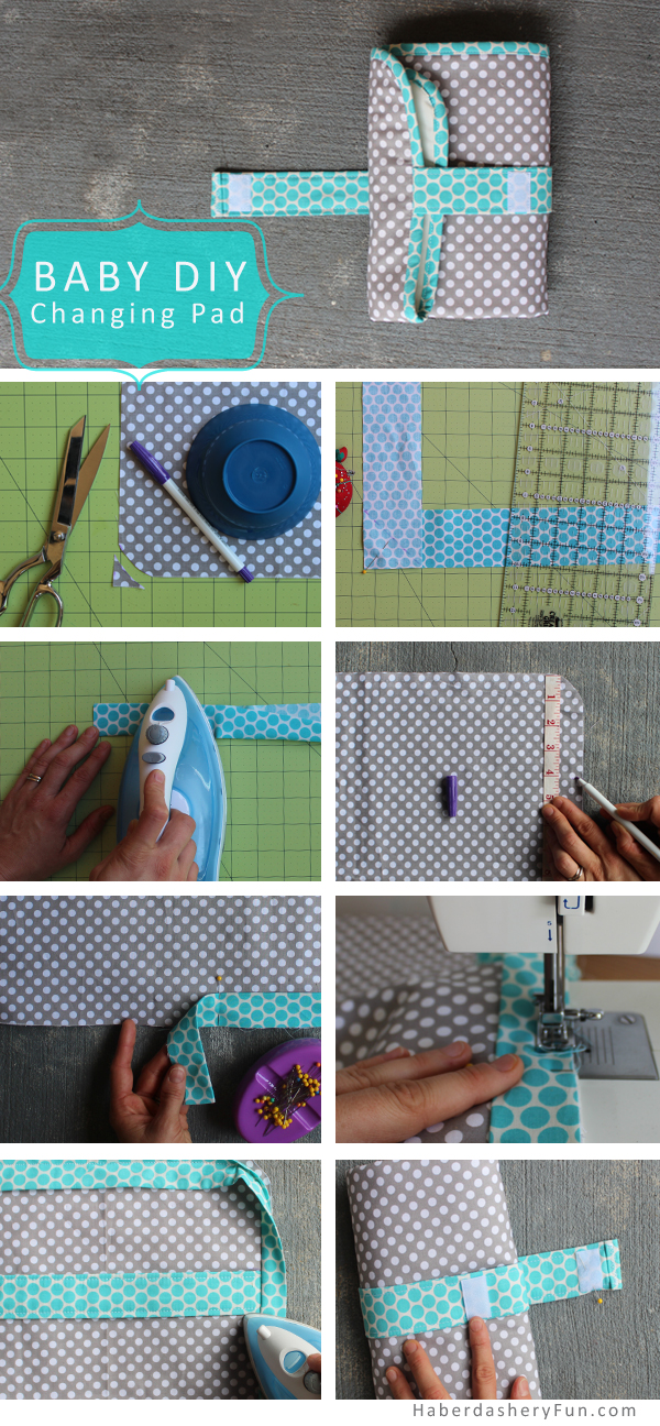 diy on the go baby changing pad haberdashery fun. Black Bedroom Furniture Sets. Home Design Ideas