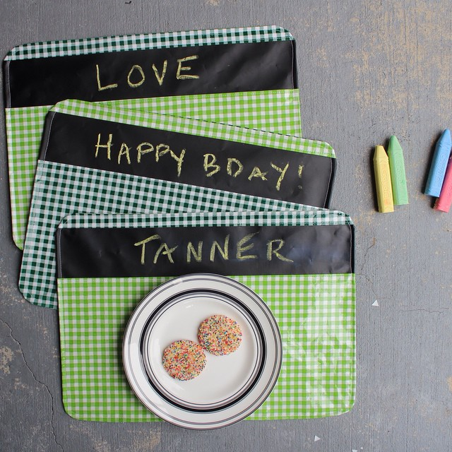 Chalkboard fabric + oilcloth addiction = party fun.. Head on over to the blog  for the placemat tutorial. #haberdasheryfun #oilcloth #oilclothaddict