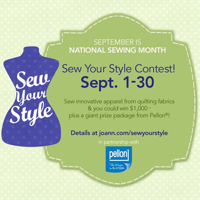 It's National Sewing Month! It's my turn tomorrow on the #sewyourstyle contest with JoAnn Fabrics and Pellon. Looking fwd to sharing my tutorial.#haberdasheryfun