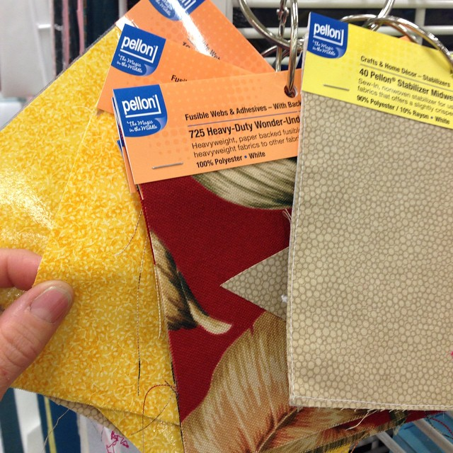 Shopping for pom poms and fun stuff. Checking out the interfacing while I'm at it.. @pellonprojects @joann_stores