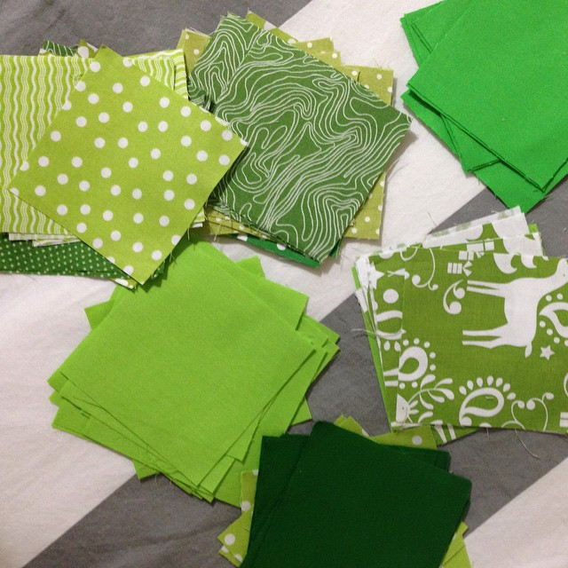 100 green squares.. Time to start sewing..