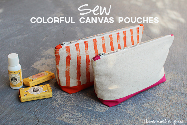 Colorful canvas pouches