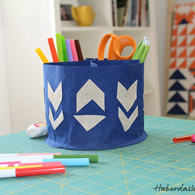 Sew with Kraft tex and HaberdasheryFun. Make an easy storage caddy.