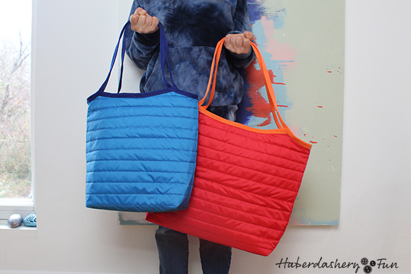 HaberdasheryFun quilted ripstop tote pattern. Use the popular reversible tote pattern and make a bag today