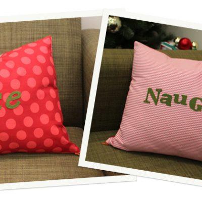 Happy Holidays DIY.. Naughty vs Nice Pillow