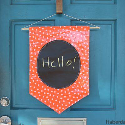 DIY.. Chalkboard & Fabric Door Banner